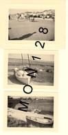 LE CROTOY SOMME -3 PHOTOS 1959- ENFANT CHEVAL A ROULETTE VOITURES BATEAUX - Lieux
