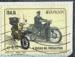 ITALIA REPUBBLICA ITALY REPUBLIC 2013 EUROPA CEPT UNITA IL VEICOLO DEL PORTALETTERE €  0,70 USATO USED OBLITERE' - 6. 1946-.. Republic