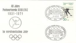 GERMANY Olympic Cover Postsportverein Koblenz With Handcancel Koblenz 1 Of -4.-6.1971 On Olympic Stamp - Summer 1972: Munich