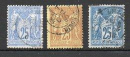 = - Yvert N° 78, 79 Et 92 - Emission Sage 25c N/U Outremer, Jaune Et Bleu - 1876-1898 Sage (Tipo II)