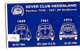 NEDERLAND CHIP TELEFOONKAART CRD-296 * VOLKSWAGEN KEVER CLUB *   Telecarte A PUCE PAYS-BAS ONGEBRUIKT  MINT - Auto's