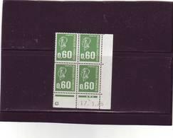 N° 1814 - 0,60F BEQUET - G De G+H - 3° Tirage Du 30.12.74 Au 15.4.75 - 17.01.1975 - - Ecken (Datum)