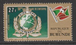 Burundi 1973 Airmail - The 50th Anniversary Of Interpol 27 Fr Multicoloured SW 939 O Used - 1970-79: Used