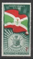 """Burundi 1962 Independence - Inscribed """"1.7.1962"""" 1 Fr Multicoloured SW 30 O Used - Burundi"""