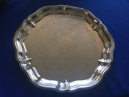"""Silver Toned Metal Scalloped Edge -15"""" Decorated Serving Tray - Other"""
