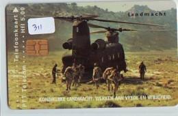 NEDERLAND CHIP TELEFOONKAART CRD-311 * HELECOPTERE * MILITAIRY * LANDMACHT *  Telecarte A PUCE PAYS-BAS ONGEBRUIKT  MINT - Armee