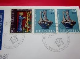 Helvétia  Europe Suisse  Lettre & Document -Marcophilie Lettre Affranchissement Multiple-pour La France - Switzerland