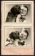 Photo Ancien / Foto / Album / 4 Scans / Fille / Girl / Dog / Chien / Photographer Slosse Et Closset / Tournai - Albums & Collections