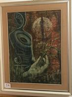 """OPERA DELL'ARTISTA NINO PARLAGRECO NEO FIGURATIVO IN ACRILICO 60X80 """"GERMOGLIO 1978 - Acrylic Resins"""
