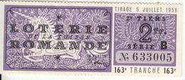 Billet De Loterie De La Suisse Romande Avec Liste Officielle 1958 - Lotterielose