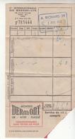 Note  D'un Déjeuner  Dans La Cie INTERNATIONALE DES WAGONS-LITS Avec Pub Au Dos  En 1958 - Non Classés