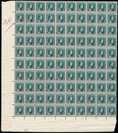 1915 G.D. Marie-Adélaide: 80c.surcharge S.62 1/2c,vert-bleu, Neuf, Feuille Entière à 100, Michel:117 (2scans) - Full Sheets