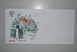 Belgique 2007 Carte Illustrée+auto-collant Fondation Damien - Maps