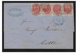 DANEMARK -- 1873-- LETTRE POUR LA FRANCE -- 4SKILLING EN 2 PAIRES -- TRYK 7 -- A81-82 & A91-92 --dent. 14 X 131/2-- - 1864-04 (Christian IX)