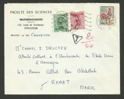Lettre Taxée Au MAROC / Faculté De Sciences à TOULOUSE / Coq 10.01.1966 - France