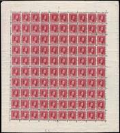 1914 G.D. Marie-Adélaide: 10c. Rouge-lilas, Neuf, Feuille Entière à 100, Michel: 92 (2scans) - Full Sheets