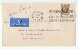 1949 GB 1/- Stamps COVER To USA Slogan BRITISH INDUSTRIES FAIR Airmail Label - 1902-1951 (Kings)