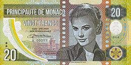 Monaco Spécimen 20 Francs 2018 Polymer  Emission Privée Limitée UNC - Mónaco