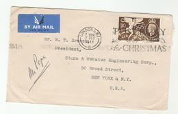 1948 GB COVER  1/- OLYMPICS Stamps To USA Slogan POST EARLY FOR CHRISTMAS Olympic Games Sport - 1902-1951 (Kings)