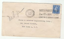 1949 GB  2 1/2d  Stamp COVER To USA Slogan BRITISH INDUSTRIES FAIR - 1902-1951 (Kings)