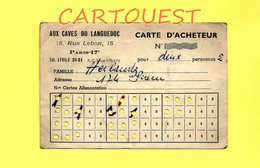 DOCUMENT GUERRE 39 / 45 CARTE D'ACHETEUR VIN Aux Caves Du Langedoc 15, Rue Lebon PARIS 17 - Maps