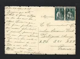 "Military Mail WWI War CEP Portuguese Army Comander""Amilcar Barcinio Pinto"" A.P.O. S.25 B.E.F FRANCE 1917. Postal Militar - Marcophilie"
