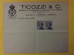 REGNO D'ITALIA BUSTA PUBBLICITARIA ARTICOLI DA VIAGGIO TICOZZI & C. VARESE - 1900-44 Vittorio Emanuele III