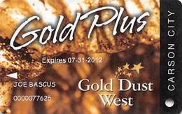 Gold Dust West Casino Carson City, NV - Slot Card Copyright 2010 - Casino Cards