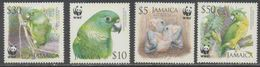 JAMAICA, 2006,  MNH, WWF, PARROTS, 4v - W.W.F.
