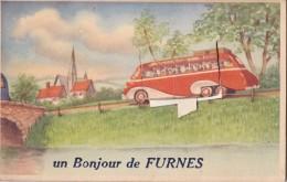 Carte à Système Un Bonjour De Furnes Circulée En 1950 - Veurne