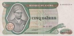 Zaire 5 Zaires, P-21b (24.11.1977) - UNC - Zaire
