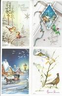 4 CPM  Bonne Année 1 Avec Petits Oiseaux  1 Avec Une Calèche  1 Avec Un Faisan  Une Avec Maison Et Houx - Nouvel An