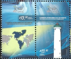 J) 2018 MEXICO, INTER-AMERICAN COMMITTEE OF PORTS, ORGANIZATION OF AMERICAN STATES, LIGHTHOUSE, MAP, PAIR, MNH - Mexico