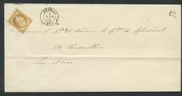 Imprimé France 1853-60 Emission Empire Napoléon III Non Dentelé 10c Bistre Type I No13A. Auneau à Versailles PC181 - 1853-1860 Napoléon III