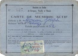 CARTE DE MEMBRE ACTIF-SOCIETES DE PECHE DE LIERGUES POUILLY ET THEIZE - 1952-N°627 - Maps