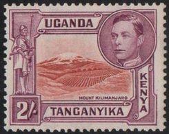 KUT 1944 2/- Mount Kilimanjaro (perf 13¾ X 13¼) MNH - Kenya, Uganda & Tanganyika