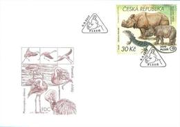 FDC 939 Czech Republic Nature Protection: Zoological Gardens II 2017 Indian Rhino Varan Flamingo - Rhinozerosse