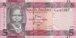 SOUDAN SOUTH 5 POUNDS 2015 UNC P 6 B - Soudan