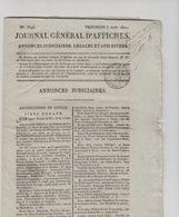 Journal Général D'affiches,judiciaires,1821,château Des Boves,Magny,Moulin De St Santin,demandes - Encyclopédies
