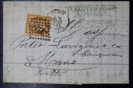 France: Lettre Complete Limoges GC 2049 -> Mans, Yv Nr 48 - 1870 Bordeaux Printing
