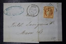 France: Lettre Complete Agen GC 12 ->  Le Mans Yv Nr 48 1871 Losange Gros Chiffres - 1870 Bordeaux Printing
