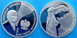 POLAND 10 Z 2008 ARGENTO PROOF SILVER SBIGNIEW ARTIST HERBERT PERSONALITY PESO 15,5g. TITOLO 0,925 CONSERVAZIONE FONDO S - Polonia