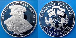 TOGO 1000 F 1999 ARGENTO PROOF RARA MARTIN LUTHER LUTERO 1483-1546 PESO 15g. TITOLO 0,999 CONSERVAZIONE FONDO SPECCHIO U - Togo