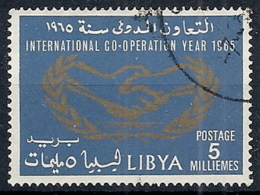 1965 LIBIA REGNO USATO ANNO DELLA COOPERAZIONE INTERNAZIONALE 5 M - RR12473 - Libia