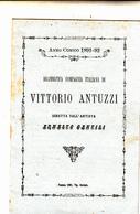 Faenza, Anno Comico 1891-1892 Drammatica Compagnia Italiana  Di Vittorio Antuzzi 2 Pieghi Pubblicitari - Advertising