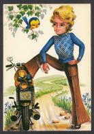 93994/ Illustrateur D. FRACASSI, Jeune Homme Avec Une Moto - Illustratori & Fotografie