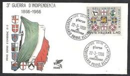 1966 ITALIA FDC PEGASO INDIPENDENZA - NO TIMBRO DI ARRIVO - IT6-3 - 6. 1946-.. Repubblica