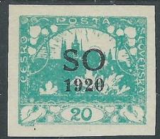 1920 CECOSLOVACCHIA SLESIA ORIENTALE CASTELLO DI PRAGA 20 H VERDE AZZURRO MH * - - Cecoslovacchia