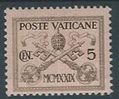 1929 VATICANO CONCILIAZIONE 5 CENT MH * - RR13342 - Neufs