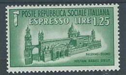 1944 RSI ESPRESSO DUOMO DI PALERMO 1,25 LIRE MH * - RR4372-3 - 4. 1944-45 Repubblica Sociale